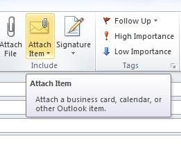 Attach Item in Outlook