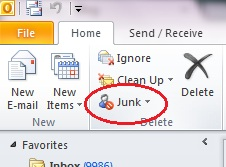 Junk Setting Outlook 2010