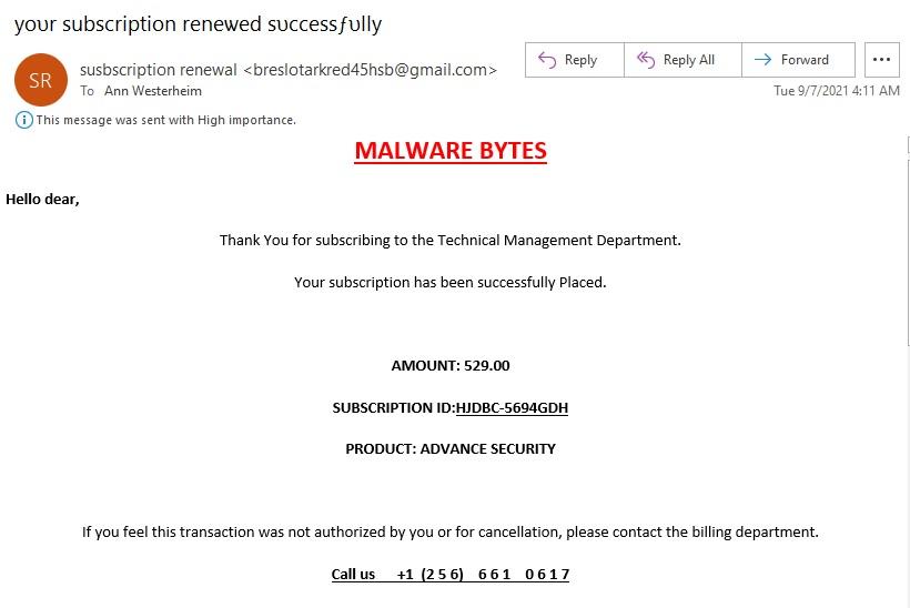 Fake Malwarebytes Renewal with Phone Number
