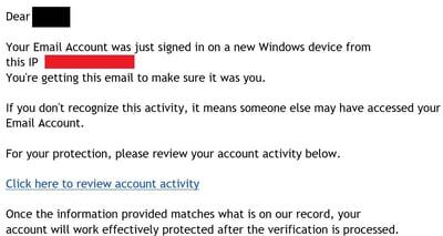 Fake email Security Warning