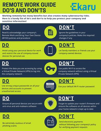 Remote Work Guide Do's and Don'ts - Ekaru's Infographic