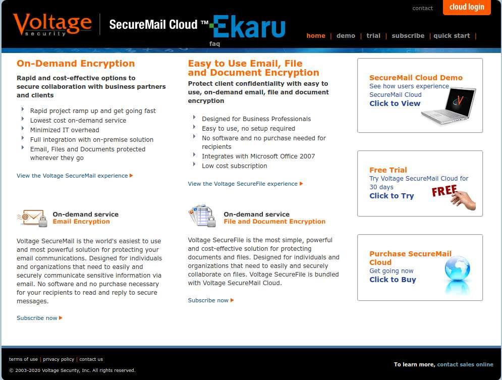 Ekaru's Voltage SecureMail